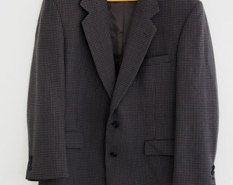 Vintage Mens Givenchy Monsieur  Suit Jacket Brown Navy Check 41R Wool 1970s