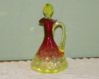 Antique Hobbs Glass CRUET Bottle Oil Vinegar Vaseline Inverted Thumbprint Rubina verde dot optic