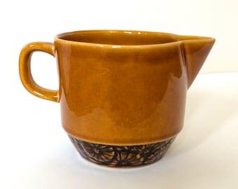 Adorable Vintage Ceramic Brown Iron Stone Daisy Creamer, Japan