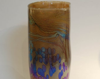 Iridescent Khaki Blown Glass Vase Jug Vessel