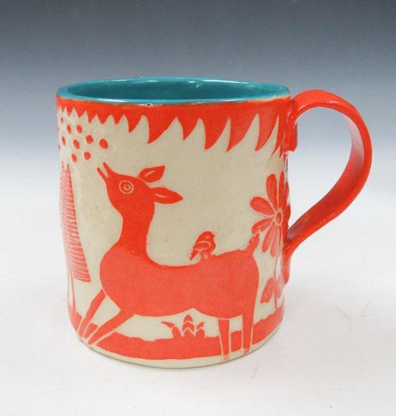 Pottery SGRAFFITO MUG Ceramic Artist-Made - DEER & Landscape Carved Design - Folk Art - Can be Personalized! - Stoneware Pottery