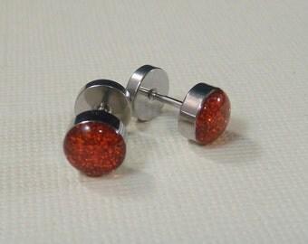 Glitter Orange Red Fake Ear Plugs / fake gauges / fake plugs / fakers / orange red ear plugs / rhinestone plugs