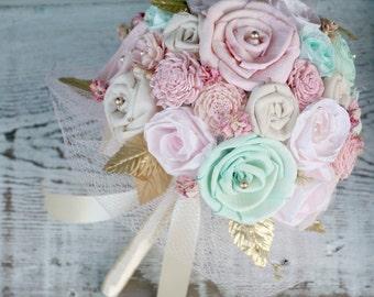 Pastel Bridal Bouquet - Pink, Mint, Gold // Wedding Bouquet, Shabby Chic, Wedding Flowers, Bridal Flowers, Sola Flowers, Vintage Wedding
