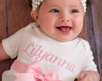 Embroidered Baby Gift Set - Short or Long Sleeves - Personalized Baby Shirt - Boutique Style Gift Set - Baby Girl