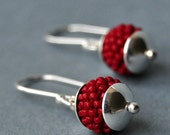 Small Sterling Silver Earrings - Maroon