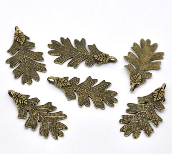 Bronze Leaf Charms Dipped Leaf Pendant 48x26mm 5pcs  - Ships IMMEDIATELY  from California - BC95