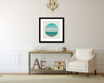 Blue Ocean Photograph, Aqua Lake House Decor, Large Wall Art, Square Photography, Minimalist Picture, Circle Picture