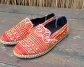Embroidered Womens Shoes Espadrilles In Orange Hmong Embroidery Slip On Loafers - Morgan