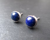 Lapis Lazuli Stud Earrings - Blue Lapis Stone Studs, Sterling Silver Jewelry