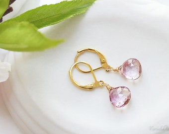Mystic Pink Quartz Earrings, Pink Gemstone Earrings, Simple Earrings Small Pink Earrings