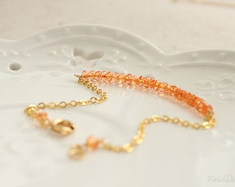 Delicate Orange Quartz Bracelet, Thin Gemstone Bracelet