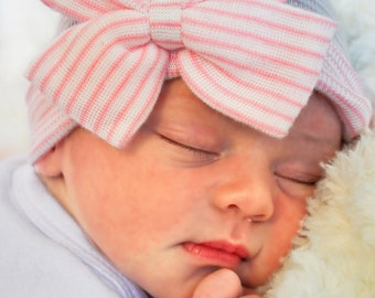 First Bow Newborn Hospital Hat Pink Cutie Bow(newborn girl hat, newborn beanie, newborn hospital hat with bow, first bow)