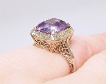 SALE - 14k Art Nouveau / Edwardian Amethyst Filigree Ring