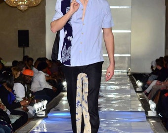 TMD: mens light blue 100% SILK Cabana Guayabera  resort shirt with japanese cotton med runway discount