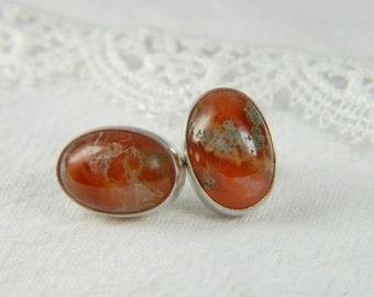 Red Moss Agate Earrings Artisan Earrings Large Post Earrings Natural Stone Earrings Artisan Jewelry