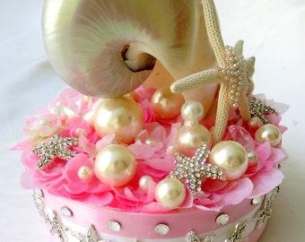 Sea shell Wedding Cake topper, Brooch wedding cake topper, Pink wedding Cake topper
