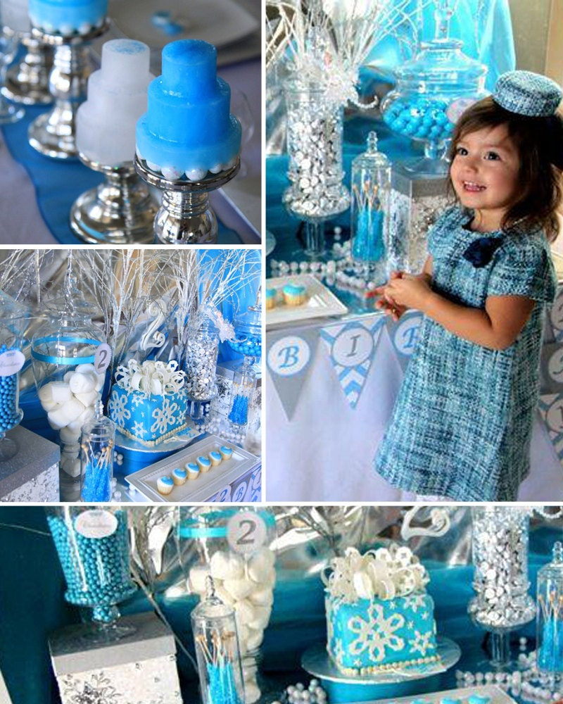 Winter Wonderland Birthday Party Snowflake Chevron