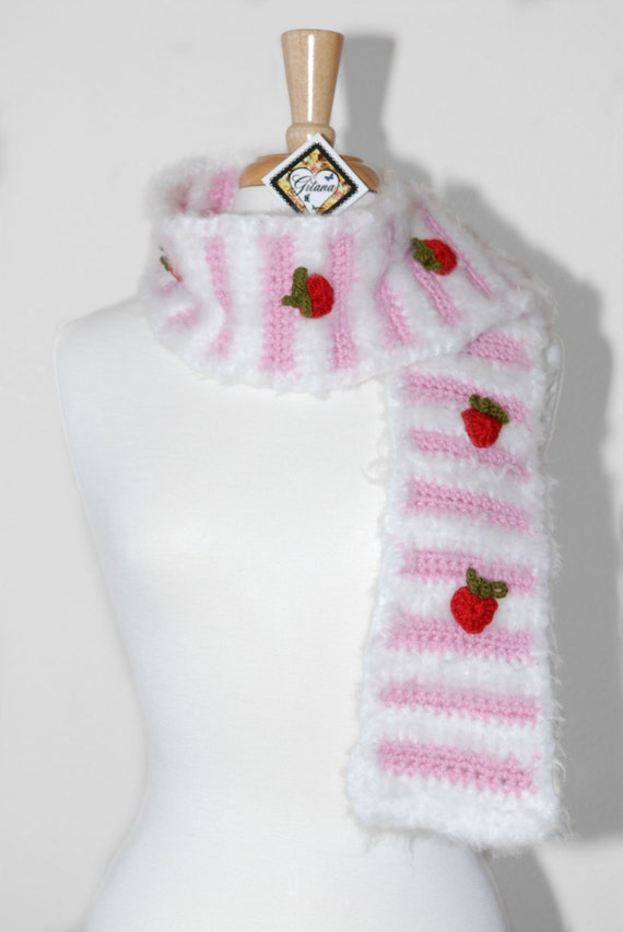 Crochet Scarf-Strawberry Short Cake Crochet Scarf- Strawberry Scarf- Food Scarf- Kawaii- Women Scarf- Unique Scarf