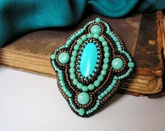Turquoise Brooch Beadwork Brooch Bead embroidered Brooch Beaded Brooch Turquoise Copper Black Jewelry Oriental Ethnic jewelry