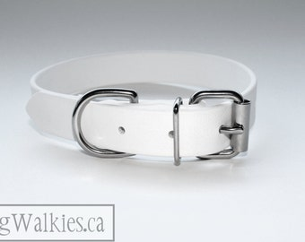 "Biothane Dog Collar - Snow White 1"" (25mm) Wide Biothane - Solid Brass or Stainless Steel hardware - leather look and feel - Waterproof"