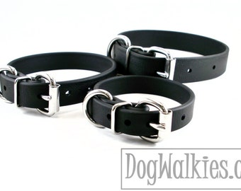 "Jet Black Biothane Dog Collar - 5/8"" (16mm) wide - Leather Look and Feel - Small Dog Collar - Stainless Steel or Solid Brass Hardware"