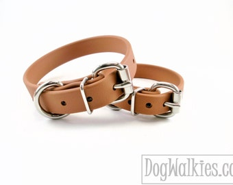 "Caramel Brown 3/4"" (19mm) Beta Biothane Dog Collar - Leather Look and Feel - Custom Dog Collar - Stainless Steel or Solid Brass Hardware"