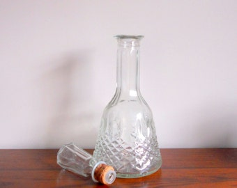 Vintage Liquor Decanter Glass Wine Whiskey Liquor Server Diamond Pattern Mid Century Barware