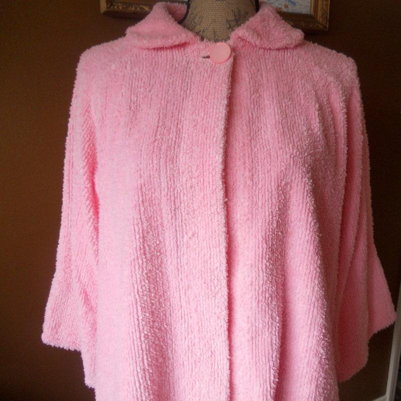 Vintage Chenille Bed Jacket Pink Short Robe Women S Gift