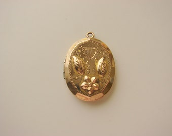 W & H 12K Gold Filled Repousse Locket Fob / Designer Signed / World War II / Vintage Jewellery / Jewelry