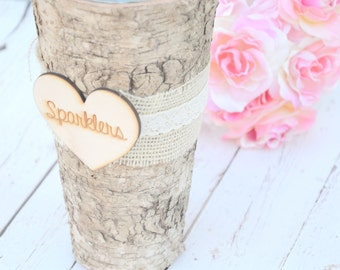 Wedding Sparklers Birch Vase- rustic wedding decorations