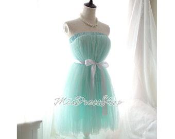 Alice in Wonderland Pastel Ballerina Seafoam Mint Green Tutu Tulle Puff Skirt Dress,Cute Fairytale Women's Fashion,long petticoat,Retro