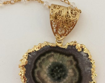 Green Amethyst Geode Necklace