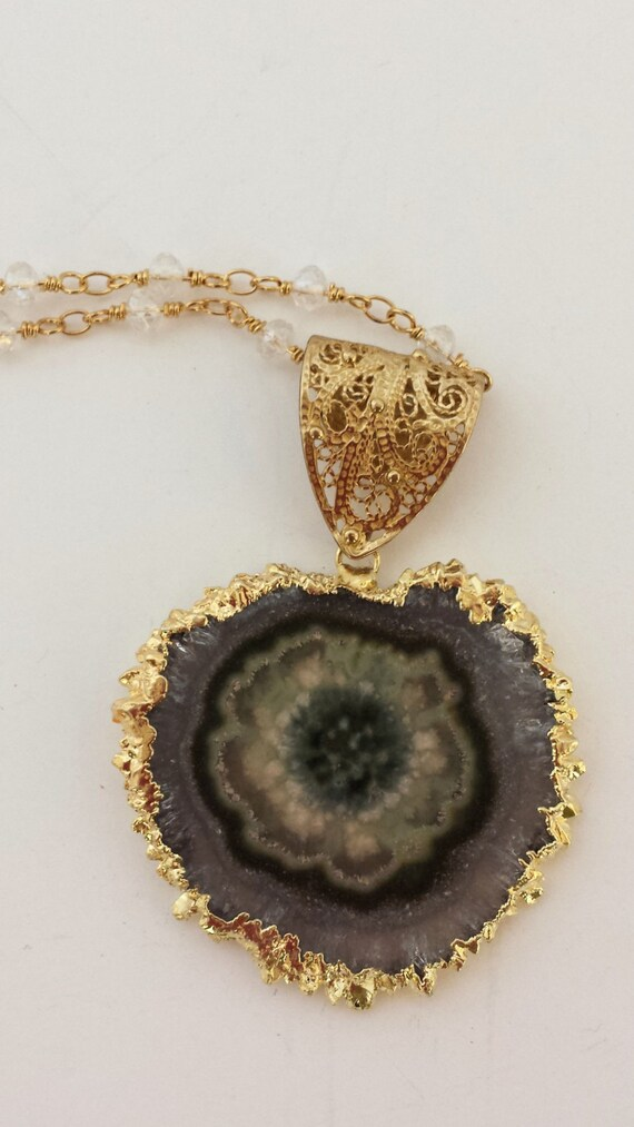 Green Amethyst Geode : Green amethyst geode necklace
