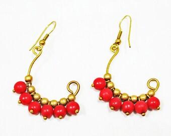 Colorful Red Brass Wire Earrings, Tribal Earrings, Curl Earrings, Vine Earrings