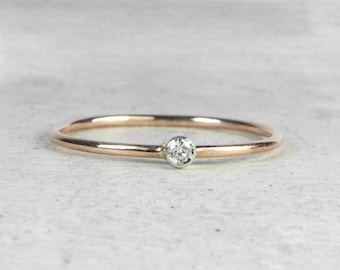 9ct Rose Gold Diamond Skinny Stacking Ring