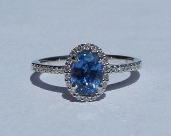 Natural Ceylon 1.24 Carat Sapphire & Diamond Engagement Ring 14kt White Gold