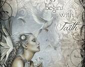 "THE JOURNEY BEGINS faith Christian inspirational angel art print, 8"" x 10"""