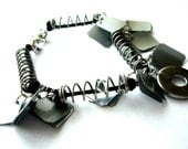 Recycled bracelet made of found object jewelry industrial bracelet black upcycled jewelry repurposed junk eco friendly