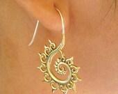 FIBONACCI FRACTAL sacred geometry spiral earrings, Free shipping