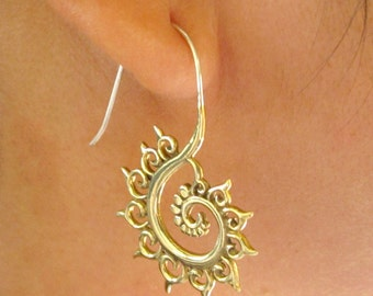 FIBONACCI FRACTAL sacred geometry spiral earrings in Yellow Brass, Free shipping in the US!