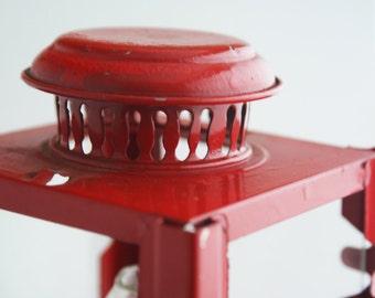 Lantern - Red Square Glass 1970s kerosine tabletop lighting