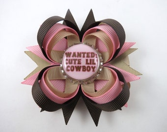 Pink and Brown Cowgirl Hair Bow - Brown Hair Bow - Pink Hair Clip - Cowboy Hair Bow - Cowgirl - Tan Hair Bow - Wanted Cute Lil Cowboy Bow