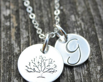 Tree of Life with Initial Charm // Sterling Silver