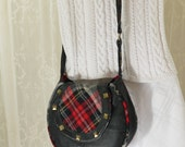 Black Leather Purse Upcycled Leather Black and Red Bag Again