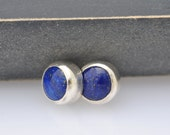 Blue Lapis and Sterling Silver Stud Earrings