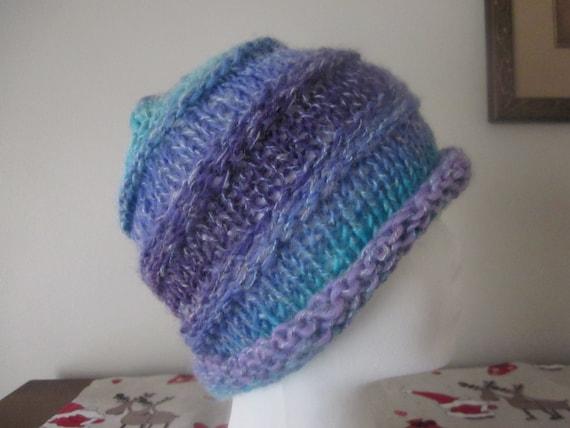 Hand Knitted Blue Purple Teal Hat Beanie Gradient Yarn Beanie Women Men Teen Winter Hat Wool Acrylic