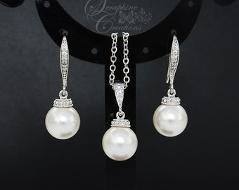 Pearl Bridal Earrings Necklace Set Wedding Jewelry Swarovski Pearl Pendant Classic Bridesmaid Gifts Bridal Set Bridal Jewelry White Ivory