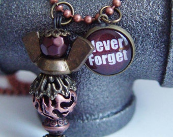 Never Forget 911 Tribute Angel Necklace, Copper & Antique Bronze Wing Nut Human Angel September 11th
