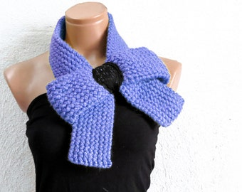 Knitted Bow Scarf Chunky Knitted Bow Ascot Neck Warmer Women's Scarf Fashion Accessories in Soft Blue, SCARVES, 2014 Trend, Winter Scarfs