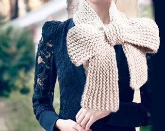 Knitted Bow Scarf Chunky Knitted Bow Ascot Neck Warmer Women's Scarf Fashion Accessories in Vanilla, SCARVES, 2014 Trend, Winter Scarfs